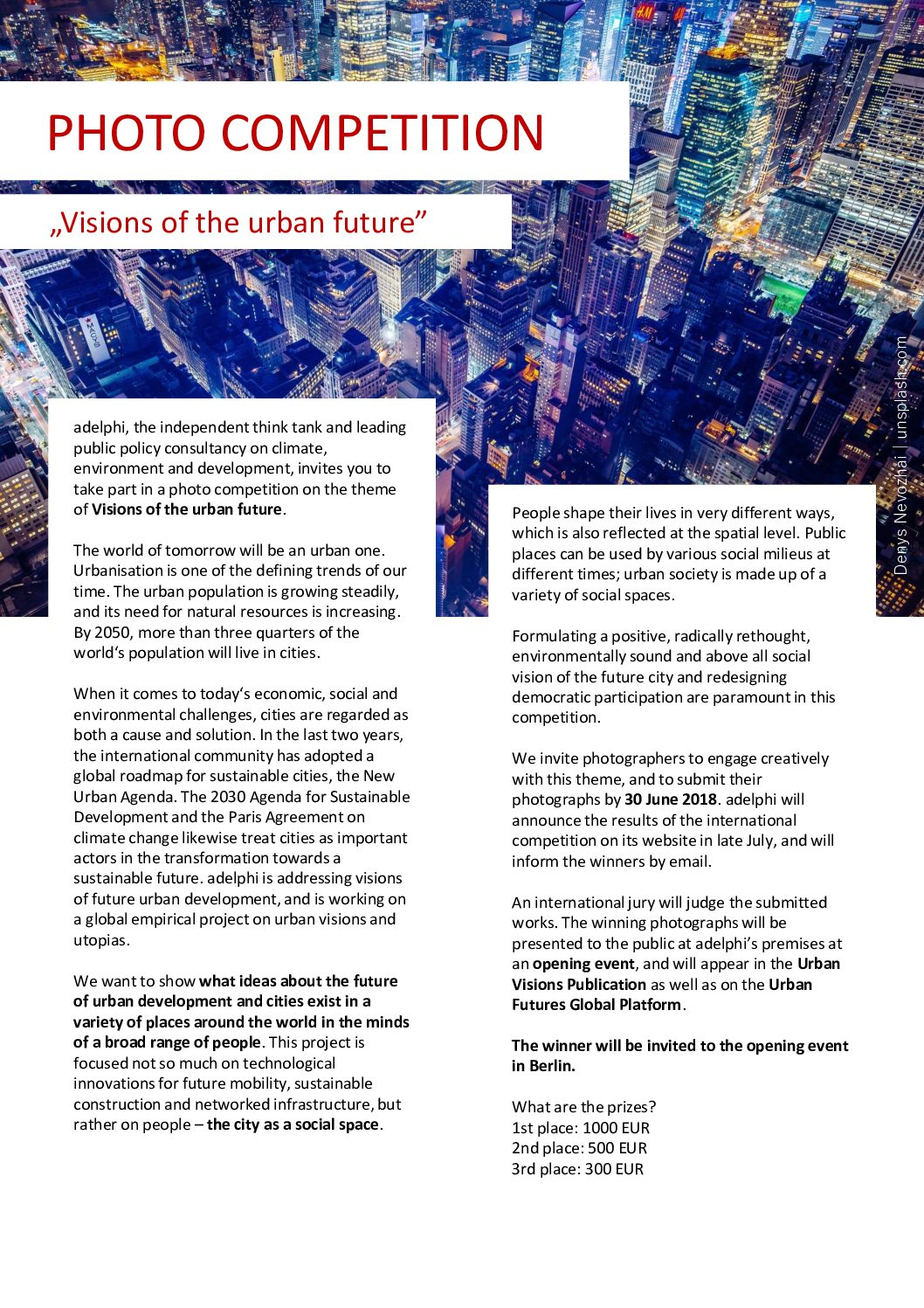 "Photo competition ""Visions of the Urban Future"" - logo"