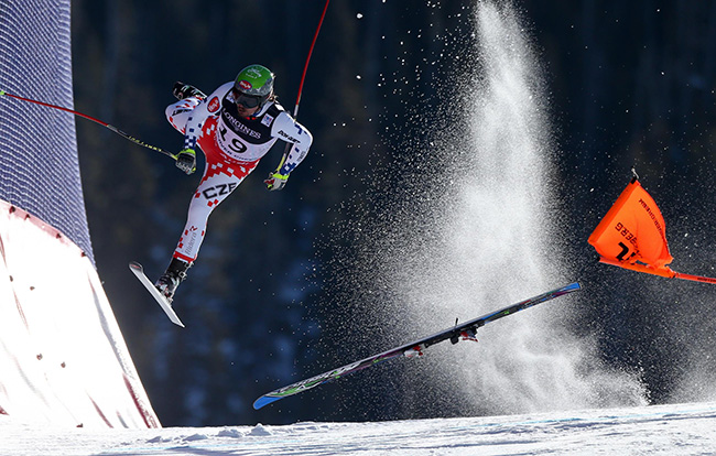 FIS World Championships - Christian Walgram - Czech skier Ondrej Bank crashes during the downhill portion of the alpine combined contest, at the FIS Alpine World Ski Championships. Bank stumbled and lost control just before the final jump. He was hospitalized with concussion and facial injuries.